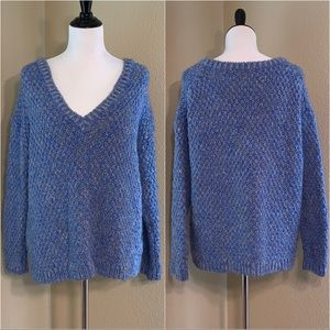 Zara Chunky Knit Blue Marled Sweater Medium